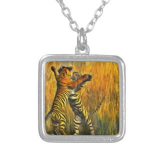 Dancing Tigers Silver Plated Necklace