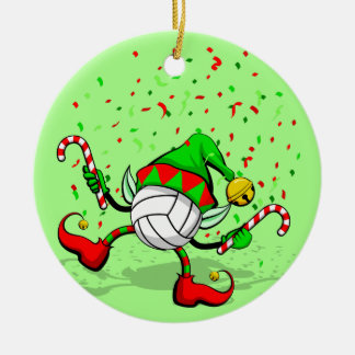 Dancing Volleyball Christmas Elf Ceramic Ornament