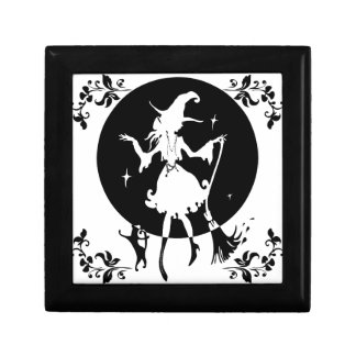 Dancing witch with broom and cat gift box