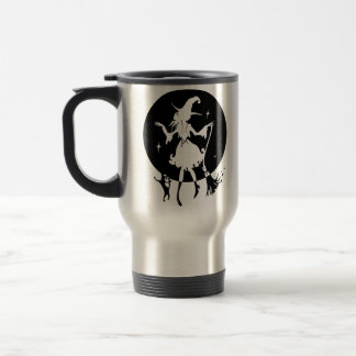 Dancing witch with broom and cat travel mug