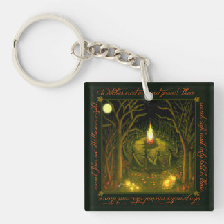 Dancing witches around a bonfire key chain
