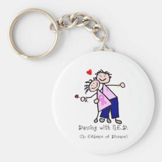 Dancing with N.E.D. - Breast Cancer Pink Ribbon Basic Round Button Keychain