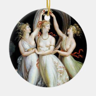 Dancing Women Round Ceramic Ornament