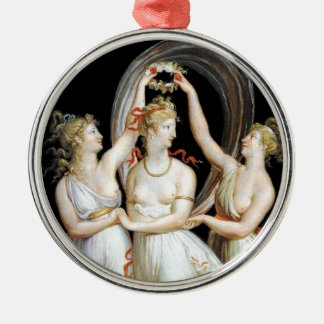 Dancing Women Silver-Colored Round Ornament