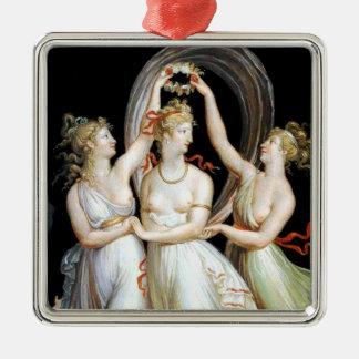 Dancing Women Silver-Colored Square Ornament