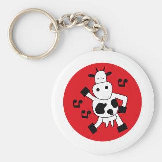 DancingCow11 Basic Round Button Keychain