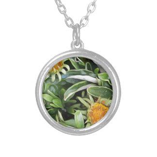 Dandelion a la Van Gogh Silver Plated Necklace