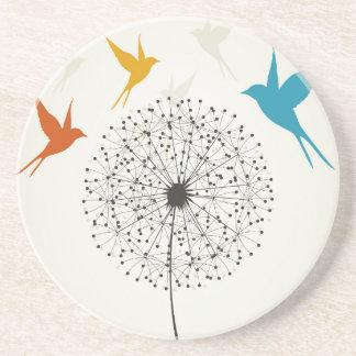 Dandelion and bird coaster
