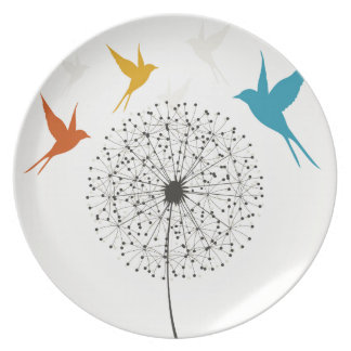 Dandelion and bird plate