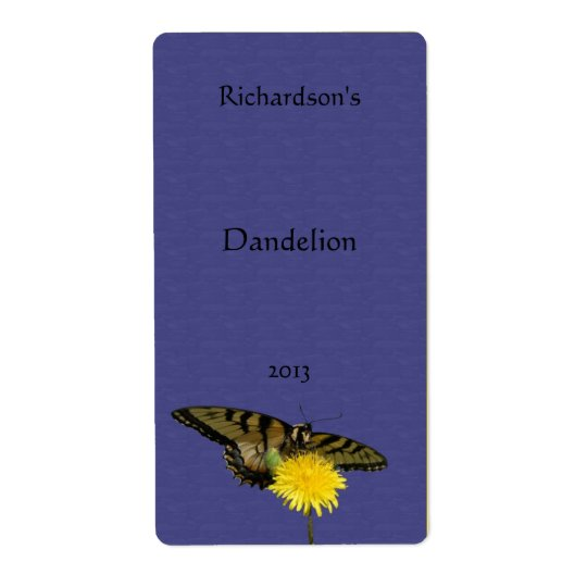 Dandelion and Butterfly Wine Label Shipping Label