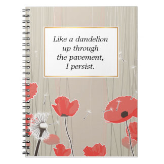 Dandelion and poppy flowers illustration quote spiral notebook