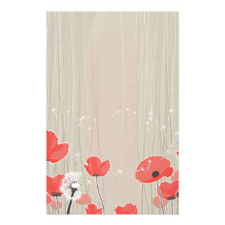 Dandelion and poppy flowers illustration quote stationery