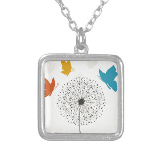 Dandelion and the butterfly silver plated necklace