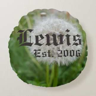 Dandelion anniversary celebration round pillow