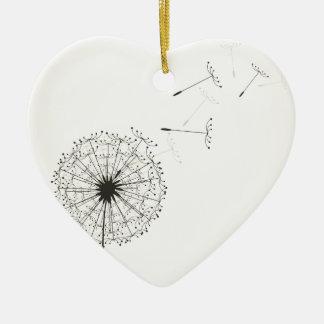Dandelion Ceramic Heart Ornament