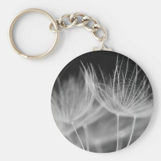 Dandelion Closeup in Black White Keychain