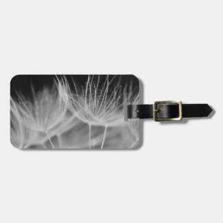 Dandelion Closeup in Black White Luggage Tag