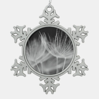 Dandelion Closeup in Black White Snowflake Pewter Christmas Ornament