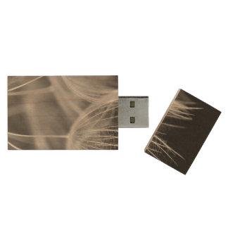 Dandelion Closeup in Black White Wood USB Flash Drive