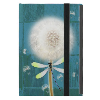 Dandelion dragonfly rustic blue barn wood iPad mini cover