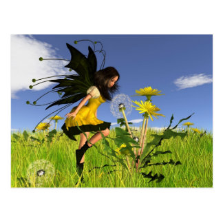 Dandelion Fairy with Springtime Background Postcard