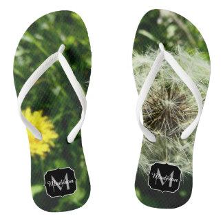 Dandelion flower and seed head Monogram Flip Flops