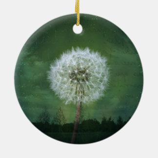 Dandelion Flower Fluff Starry Sky Art Round Ceramic Ornament