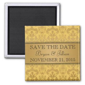 Dandelion & Gold Regal Damask Save the Date Square Magnet