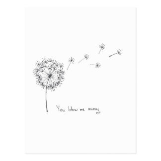 Dandelion hand illustrated funny Valentines card Postcard