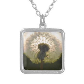 dandelion in the sun silver plated necklace