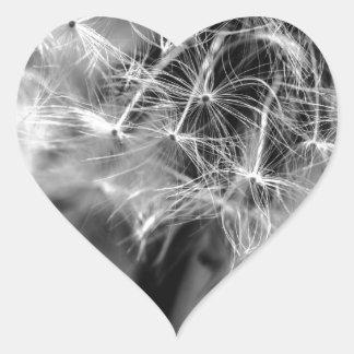 Dandelion Monochrome Heart Sticker