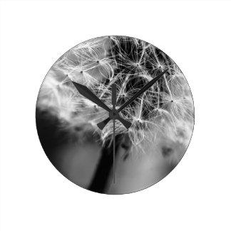 Dandelion Monochrome Round Clock