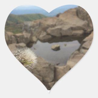 Dandelion Over a Pond Heart Sticker
