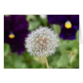 Dandelion & pansies greeting card