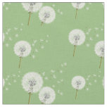 Dandelion Pattern on Green Background Fabric