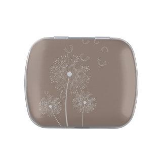Dandelion puff flowers chocolate brown candy tin