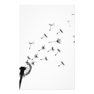 Dandelion puff in the wind stationery