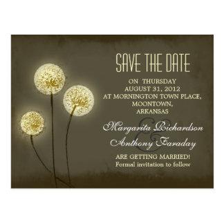dandelion save the date stylish postcards