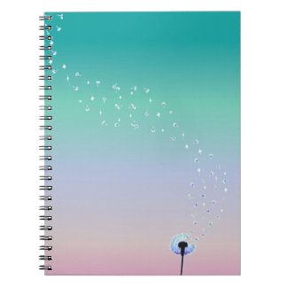 Dandelion Seeds Flying in the Wind - Turquoise Notebook