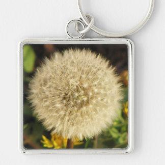 Dandelion Silver-Colored Square Keychain