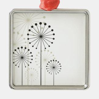 Dandelion Silver-Colored Square Ornament