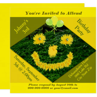 Dandelion Smiley Face Birthday Party Card