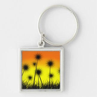 Dandelion Sunrise Silver-Colored Square Keychain