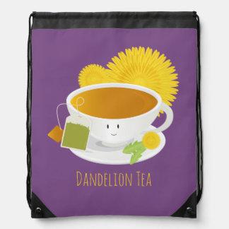 Dandelion Tea Cup Character | Drawstring Backpack