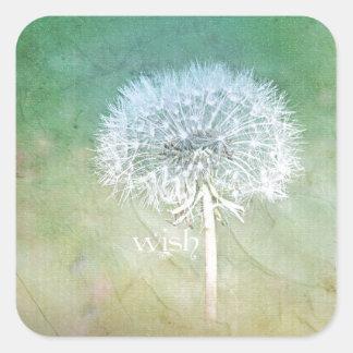 Dandelion Wish Dreamy Design Square Sticker