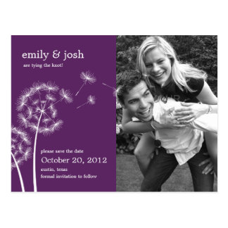 Dandelion Wish Photo Save The Date (Purple) Postcard