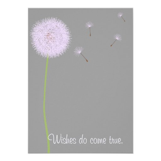 Dandelion Wishes For a Baby Shower in Purples Personalized Announcement