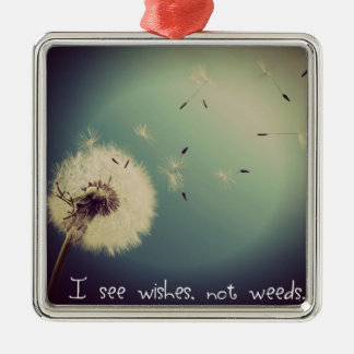 Dandelion Wishes Silver-Colored Square Ornament