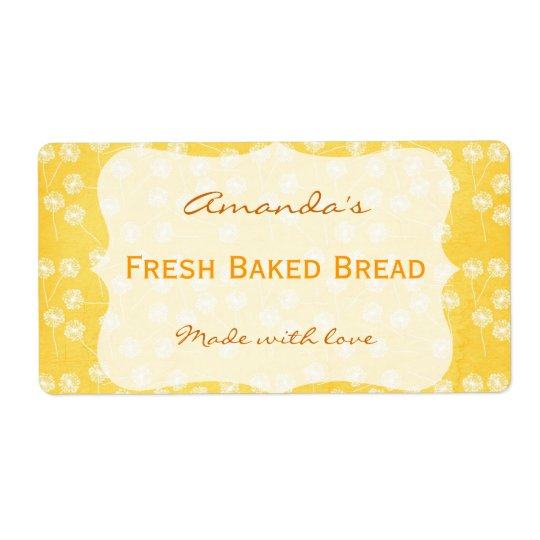Dandelion Yellow Personalized Canning Label