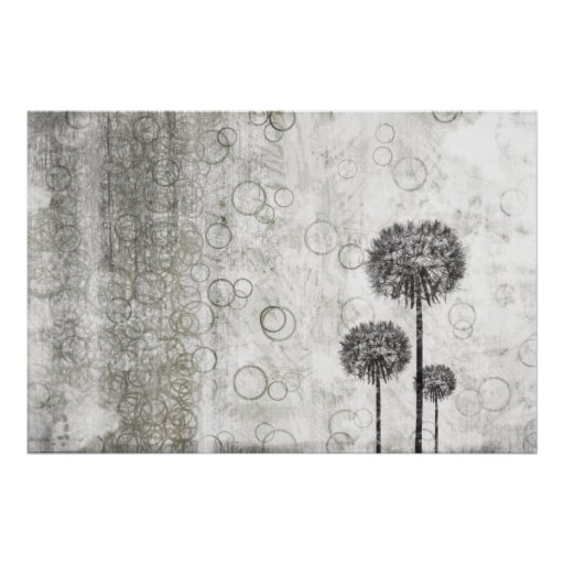 Dandelions and Circles Poster
